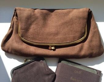 Vintage Coblentz Brown Fold Over Clutch