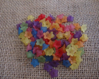 Beads, flower beads, flower bead caps, acrylic beads, mixed color frosted acrylic flower beads, 10mm, 100 pieces