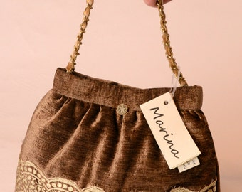 tobacco-colored chenille bag with chain handle, lace and antique buttons. No. 1007