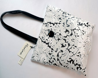damask black and white patterned chenille bag cod 1016