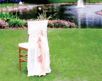 Ruffled Chair Covers Wedding Decoration MADE TO ORDER Chiffon Chiavari Chair Willow Slipcover for Wedding Reception Bridal Shower Engagement