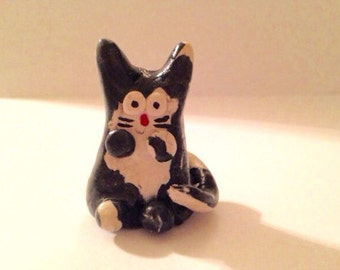 Cute Mini Black & White Polymer Clay Cat Figurine