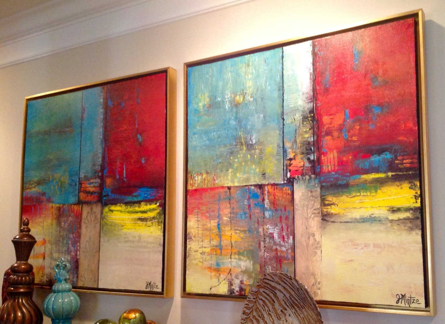 Framed Original Abstract Paintings Large Wall Art Set Of 2