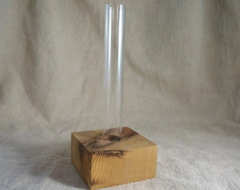 Bud vase and wood