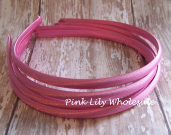 FOUR Rosy Pink Satin Covered Headband - Headband Blank - Satin Headband - Plain Headband - Plastic Headband - Wholesale - DIY - Craft