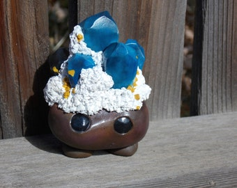 Benitoite with Neptunite on Natrolite Crystal Sprite - One of a Kind