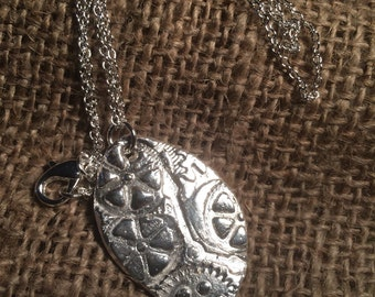 STEAMPUNK Silver Clay (Cogs & Hands) Pendant