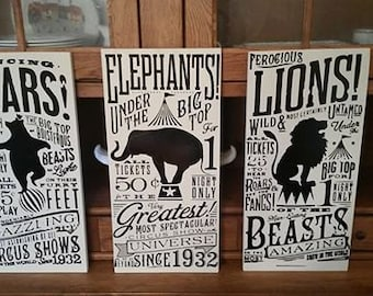 Elephant Vintage Circus Sign