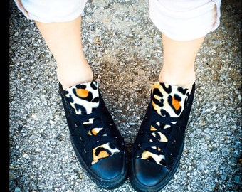 Leopard Converse Shoes Black
