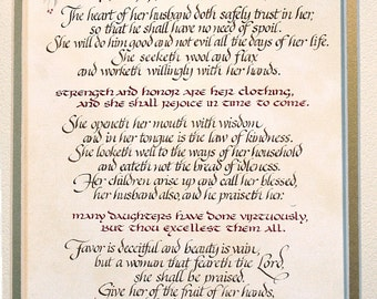 """Proverbs 31  """"A Virtuous Woman""""  Handmade Calligraphy and Art"""