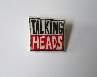 handmade and painted 'Talking Heads' mini vinyl badge!