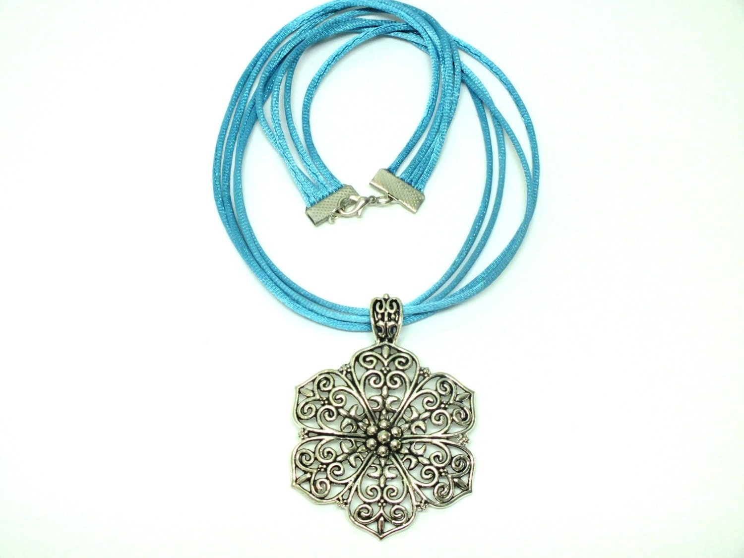 turquoise silk cord necklace satin cord necklace with big
