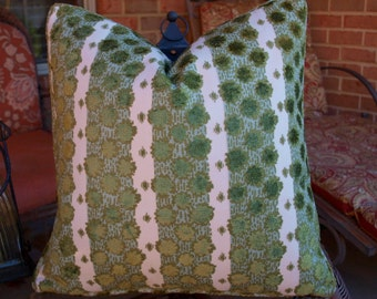 Both Sides ONE Duralee Soskin Olive Pillow Cover with Knife Edge or Self Cording
