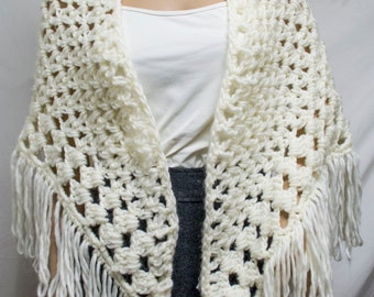 Knit wrap,Knit shawl,off white,cream,fringed