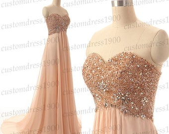 Sweetheart Evening Dress,A-Line Long Evening Gowns,Handmade Crystal/Beading Chiffon Formal Long Evening Gowns/Prom Dress