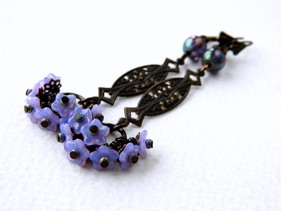 long violet floral earrings lilac flower dangle earrings. Black Bedroom Furniture Sets. Home Design Ideas