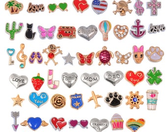 Lot Mix Floating Charms for Glass Living Memory Lockets Wholesale Gold & Silver Free Shipping #L-FLTCHR-MIX3