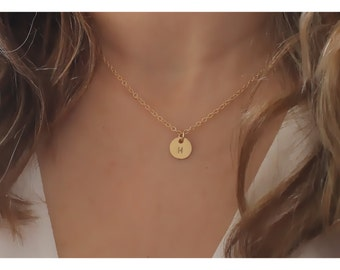 Gold initial jewelry, gold circle necklace, initial gold necklace, tiny initial Gold Disc, 1, 2 , 3, 4, 5 Discs, personalized necklace, 444