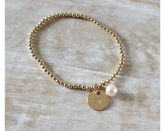 gold beads bracelet • 14K gold filled bracelet • gold stackable bracelet • personalized beaded bracelet • 14K gold filled charm • B059