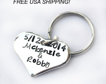 sterling silver heart key chain/ couple key chain/ stamped key chain