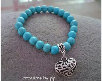 Turquoise Howlite Beaded Antique Silver Heart Charm Bracelet