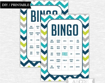 Instant Download Chevron Boy Baby shower Game, Traditional Bingo 30 Cards DIY Printable (PDCH002)