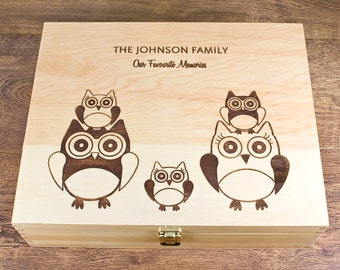"Personalised Wooden ""Owl Family"" Memory Box"