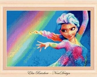 Frozen Elsa Rainbow 1, cross stitch pattern, cross stitch frozen, cross stitch Elsa, Elsa pattern, Elsa cross stitch, instant download!