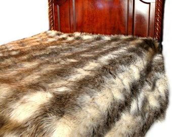 Premium Faux Fur Bedspread - Throw Blanket = Shaggy Gray and Off White Stripe Wolf - Minky Cuddle Fur Lining