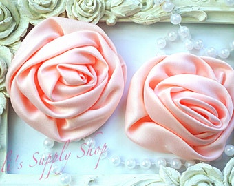 """Set of 2 - Peach Large Satin Roses - 3"""" Large Satin Rolled Flowers - Wholesale Lot - Satin Rolled Rosettes - Fabric Flowers Wholesale"""