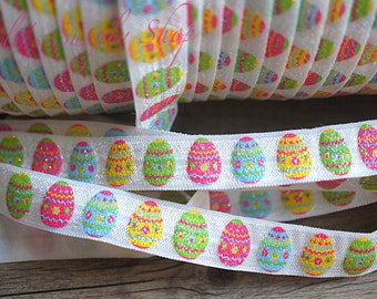 "1 Yard - Easter Eggs Glitter FOE - Easter Elastic trim - Fold Over Elastic - 5/8"" Printed FOE - Easter Elastic Ribbon - Easter FOE"
