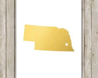 8x10 Nebraska State Print, Geography Art Print, Metallic Gold Art, Nebraska Poster, Office Art, Home Decor, Instant Digital Download