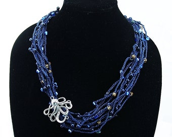 Ocean Fantasy Hand Crocheted Beaded Necklace