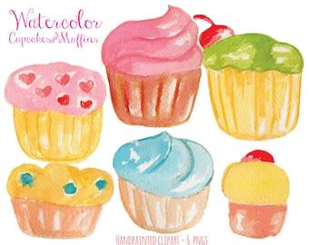 Watercolor Clip Art - Watercolor Cupcakes Illustration - Cupcake Clip Art - INSTANT DOWNLOAD