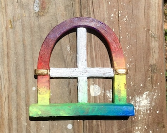 "3"" Fairy Window ""arched"" style -  Rainbow"