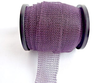 Purple Wire Mesh, Knitted Wire, Purple Jewelry Wire, Colored Copper Wire, Knitted Tube Wire, 1 to 10 Metres, 15mm, Jewelry Wire, UK Seller