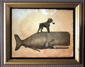 Schnauzer Dog Riding Whale - Vintage Collage Art Print on Tea Stained Paper - Vintage Art Print