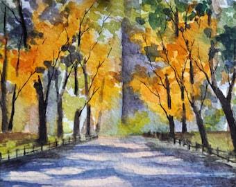 ORIGINAL Watercolor Painting, Central Park New York Landscape 4x6 inch