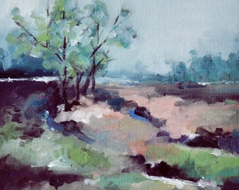 Original Oil Painting, Winter Landscape Painting, Neutral Colors 6x6 Inch