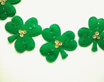 Felt St. Patrick's Day Decoration, St. Patrick's Day Shamrock Garland, Irish Shamrock Banner, Clover Garland
