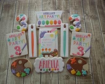Art Party Cookies, Art Cookies, Art Party, Cookie Favors, Cookie Art, Birthday