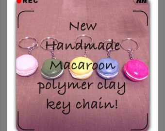 Handmade Polymer Clay Macaroon Key Rings