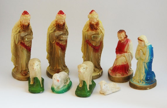 Vintage Chalkware Nativity 9 Piece Set