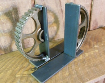 Industrial Gear Bookends Natural