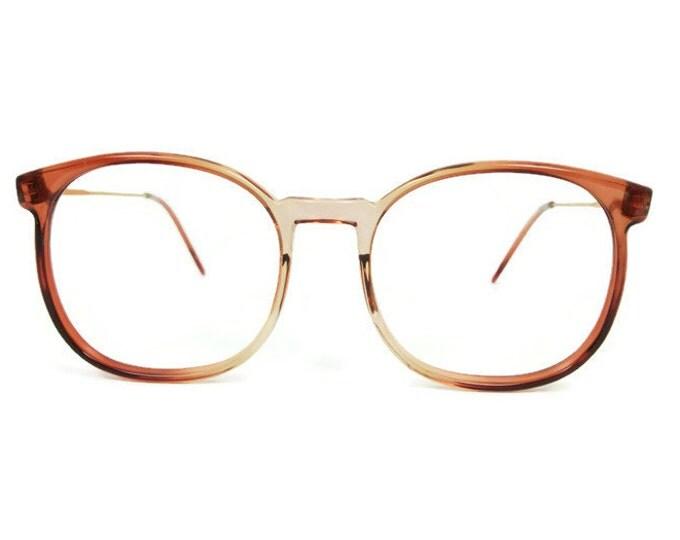 1980s Vintage Eyeglasses | Round Oversize 80s Glasses | NOS Clear Brown Horn Rim Eyeglass Frame | Vintage Deadstock - March Brown