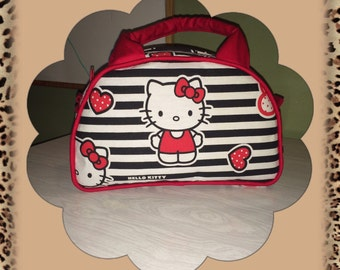 Hello Kitty stripes Vintage inspired handmade handbag