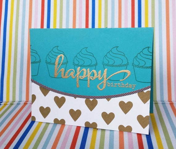 Teal & Gold Birthday Card Cupcake Card Happy By