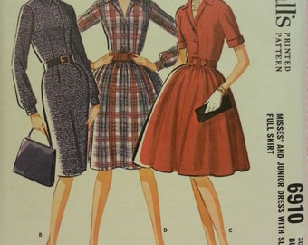 McCall's #6910 - Misses and Junior's Dress with Slim or Full Skirt - Size 10, Bust 31 - Vintage - Sewing Pattern