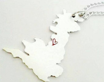 UK country county outline shape Hand cut, hand Stamped Necklace pendant, country silhouette, county outline, country necklace