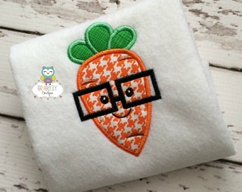 Boy Carrot with Glasses Easter Shirt or Bodysuit, Boy Easter Shirt, Easter Shirt For Boy, Boy Easter Carrot Shirt, Easter Egg Hunt Shirt